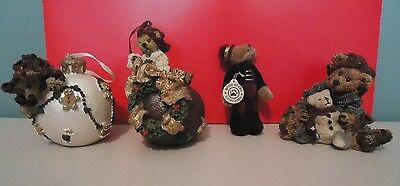 Boyds Bears Collection Christmas Ornaments Lot of 4 Bearstone Wuzzies
