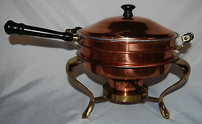 Vintage Copper Round Large Chafing Dish Warming Serving Double Boiler
