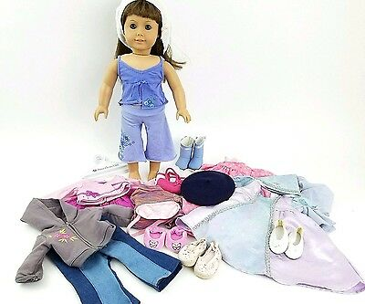 """AMERICAN GIRL Truly Me™ 18"""" Doll: Light Skin, Brown Hair, Green Eyes ++ CLOTHES"""