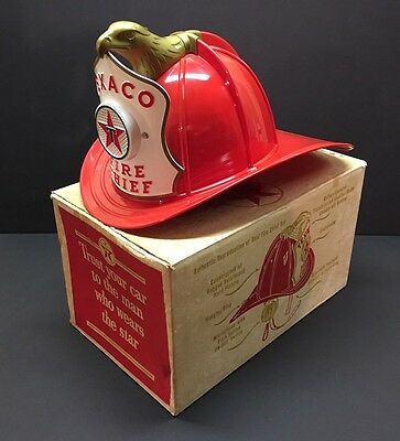 Vintage 1960's Texaco Fire Chief Hat Helmet Microphone Toy with Original Box