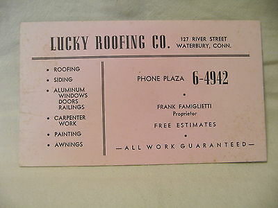 Estate Sale ~ Vintage Advertising Ink Blotter - Lucky Roofing Co. Waterbury,Conn