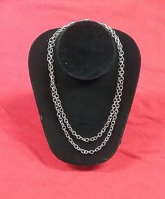 Ann King sterling silver 925 double chain necklace signed