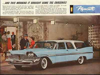 1959 vintage automobile ad, PLYMOUTH STATION WAGON, blue and white -102712