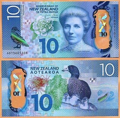New Zealand 2015 GEM UNC 10 Dollars  Banknote Polymer Money Bill  P- NEW