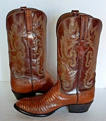 Lucchese Western Boots ~ Exotic Lizard ~ Brown ~ Men's 7-1/2 D = to Women's 9