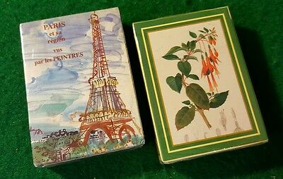 Lot of 2 Sealed Decks of French Playing Cards - Eiffel Tower - Flowers