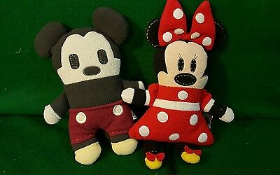 "Disney Pook-A-Looz Mickey and Minnie Mouse 12"" Plush Disneyland Theme Park Lot 2"