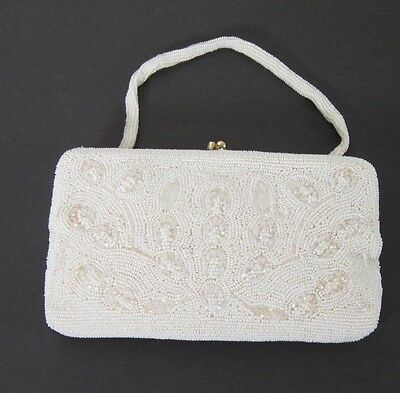 Aurora Borealis and White and Beaded Evening Bag Purse or Clutch  Japan