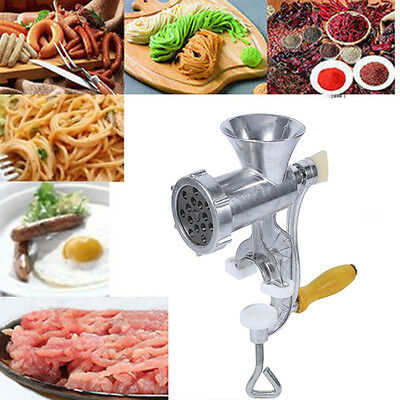 Aluminium Hand Operated Manual Kitchen Meat Mincer Beef Grinder Sausage Clamp SS