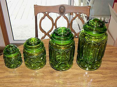 Green Moon & Star Canister Set of 4