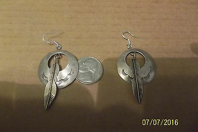 Old Pawn Navajo Sterling Silver stamped Feather French Hook Earrings