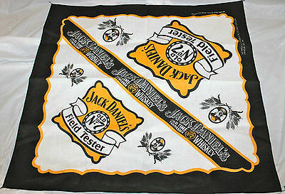 "Jack Daniels Old No. 7 Field Tester Bandana 21""x21"" Black Yellow White USA Made"