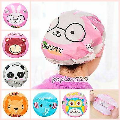 1PCS Adult Kids Unisex Cartoon Water-proof Resuable Elastic Shower Cap Bath Hat