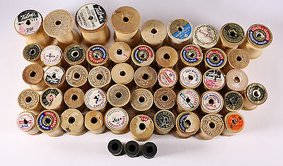 Lot of 50 Vintage Empty Wooden Thread Spools Various Sizes Brands