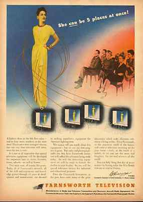 1943 vintage ad for FARNSWORTH TELEVISION, rare ad for TV PIONEER! -091212