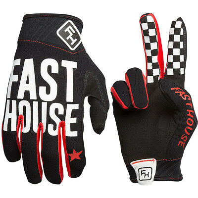 NEW Fasthouse MX Gear Grindhouse Black Chequered Dirt Bike FH Motocross Gloves