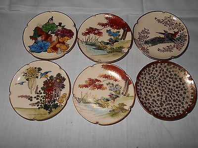 Antique Asian Butter Pats Lot Of 6 All With Original Stickers