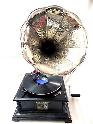 Gramophone Phonograph Fully Functional Crafted Steel Horn Sound Box With Needles