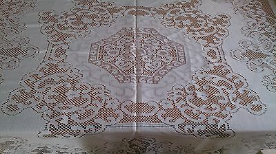 Offwhite Lace Vintage Tablecloth. 128 X 123Cm.