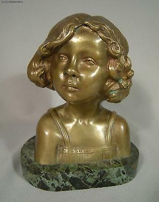 Antique French Gilt Bronze Bust Of Adorable Girl Signed Pascal Marble Base