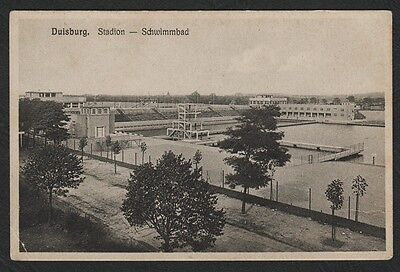 k1742)           EARLY POSTCARD:  SWIMMING & DIVING STADIUM IN DUISBURG, GERMANY