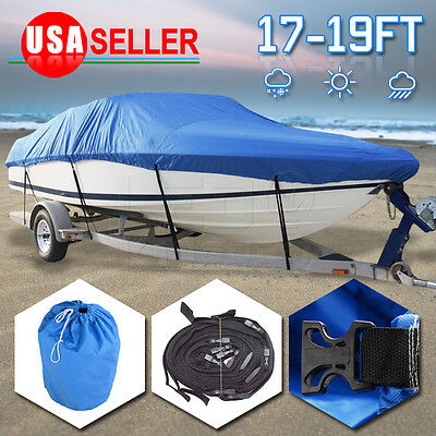 17-19 Ft 600D Waterproof Heavy Duty Trailerable Fish Ski Boat Cover V-Hull 95""