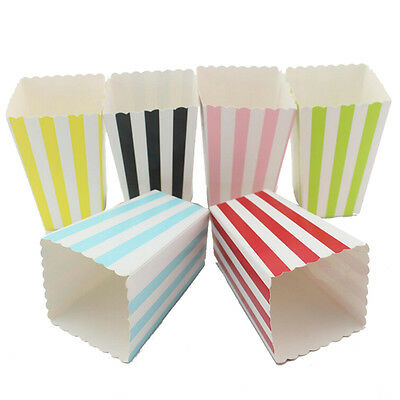 12 Popcorn Stripe Retro Treat Style Boxes Favour Party Loot Bags Wedding  LD