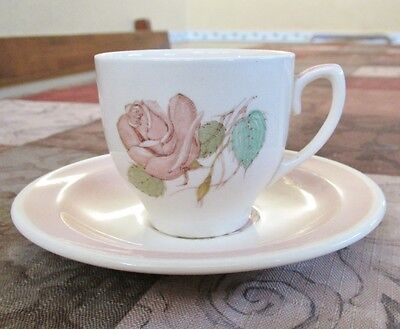 Susie Cooper Patricia Rose Coffee Cup and Saucer. Teacup. English Porcelain.