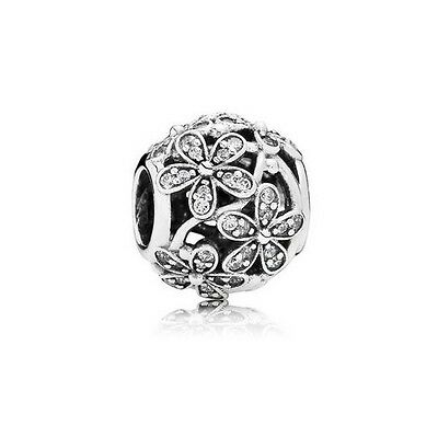 Sterling Silver European CZ Pave Dazzling Daisy Meadow Charm -FREE Pandora Cloth