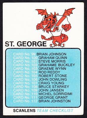 Scanlens 1981 St. George Dragons Check List Unmarked