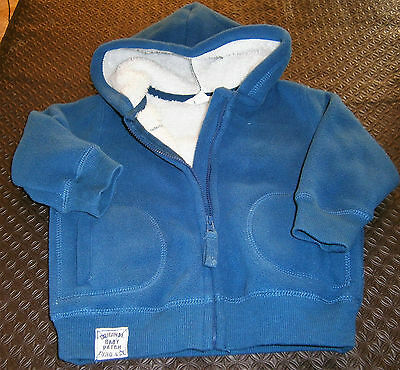 Pumpkin Patch fleecy-lined hooded top. Size 6-12 mths.