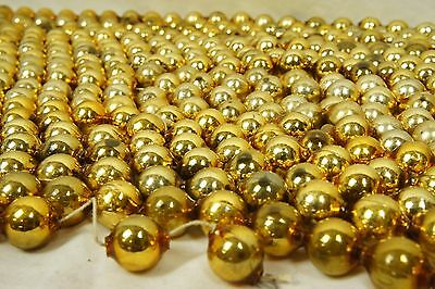 Huge Lot: 50' (600 inches) VTG Gold MERCURY GLASS BEAD Christmas Garland 1/2""