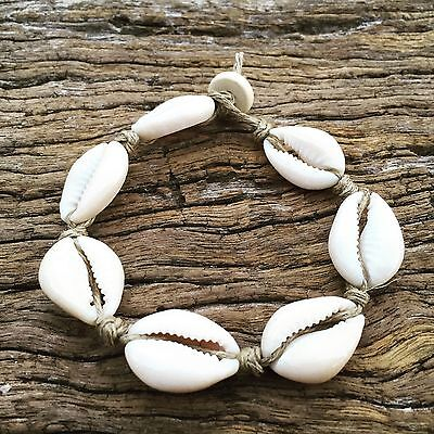 Hand Made Hemp Anklet with Cowrie Shells, Small Ankle Sea Gypsy Bohemian