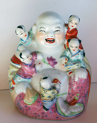 Vintage Chinese Happy Buddha Porcelain With 5 Children Hotei Buddha Famille Rose