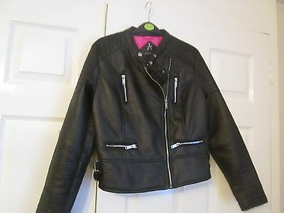 Girls Black Leather Biker Jacket  Size 10   Unworn  Fashionable!! Free Delivery