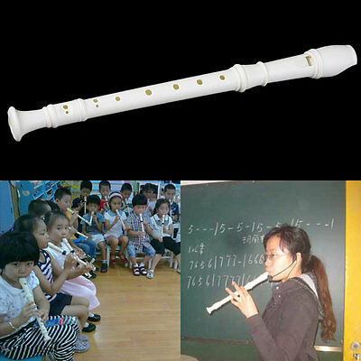 White ABS Resin Instrument 3 PCS 8 Holes Musical Soprano Recorder Long Flute HC
