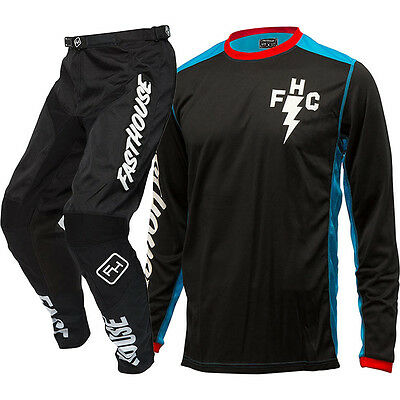 NEW Fasthouse Mx FH Crew Blue Jersey Black Grindhouse Pants Motocross Gear Set