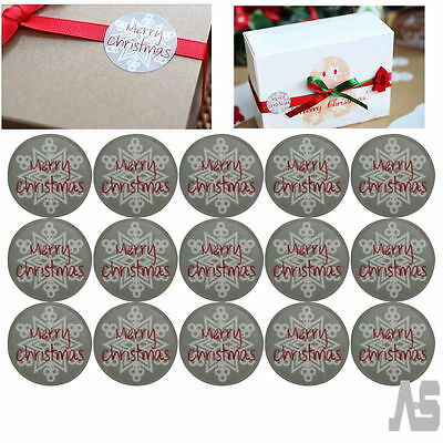 105 Round Stickers Merry Christmas Snowflake Gift Seal Christmas Present Labels