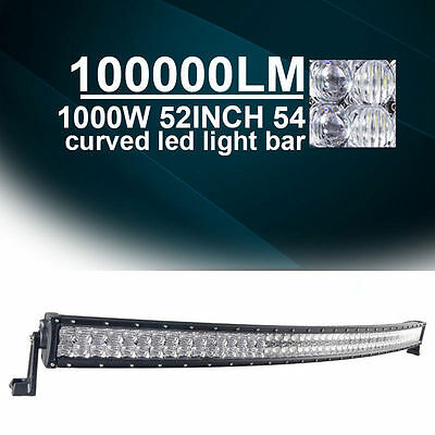 """5D 52"""" 700W Curved LED Light Bar CREE Spot Flood Offroad Combo 4WD SUV 54"""" A1"""