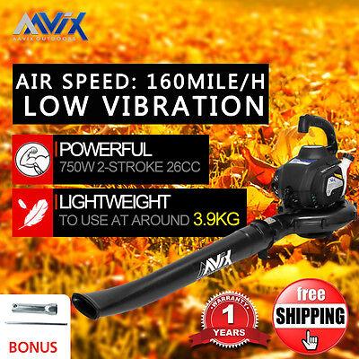 AAVIX Petrol Leaf Blower 2-Stroke HandHeld 26CC High Performance 160mile/h Speed
