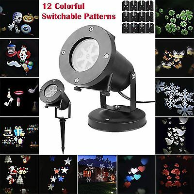 12 Patterns LED Laser Landscape Projector Lights Lamp Christmas Xmas Waterproof