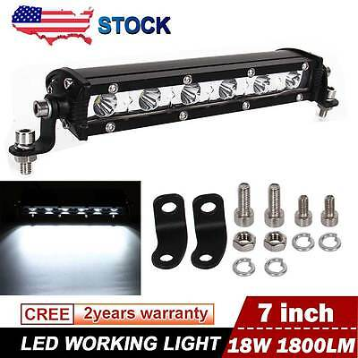 "1x 7"" inch 18W Cree LED Work Light Bar 4WD Offroad Spot Fog ATV SUV Driving Lamp"