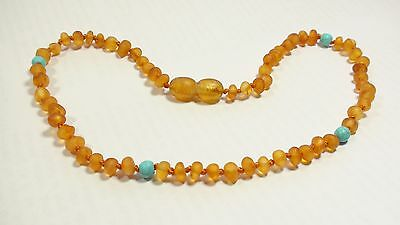 Natural raw genuine Baltic amber baby teething necklace,  small beads  N15