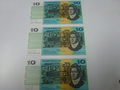 1985 Johnston / Fraser 3 x Consectitive $10 Banknotes UNC (bundle of 3 notes)