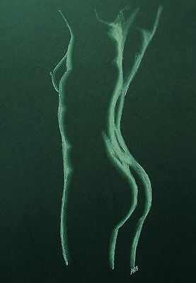Female Nude 21 - Pastel Drawing Original - Green - Studio Angela