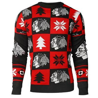 Chicago Blackhawks Patches Crewneck NHL Ugly Sweater