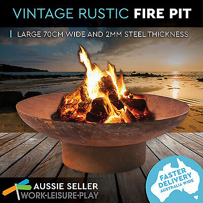Rusted Fire Pit Outdoor Open Fireplace Patio Heater Plant Bowl Bird Bath 70cm