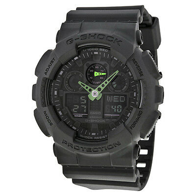 Casio G Shock Black and Neon Green Mens Watch GA100C-1A3CR