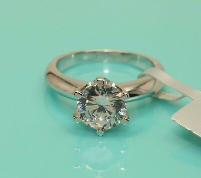 Solitaire Diamond Engagement Ring 1ct 14k White Gold Toned Round Brilliant Cut