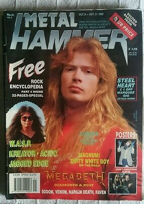 Metal Hammer N° 21 1990 Uk Magazine Megadeth Ac/dc Wasp Venom  Poster Slayer